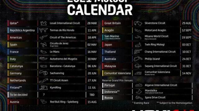 Jadwal Lengkap Balap MotoGP Musim 2021